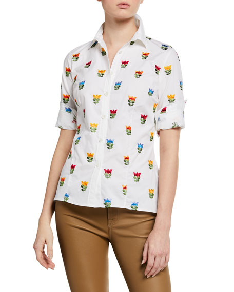 Image 1 of 2: Floral-Embroidered Short-Sleeve Shirt