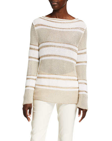 Piazza Sempione Sequin-Striped Beach Sweater Tunic