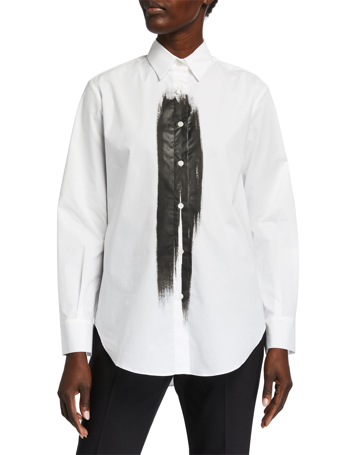 Piazza Sempione Brushstroke-Front Tunic Shirt