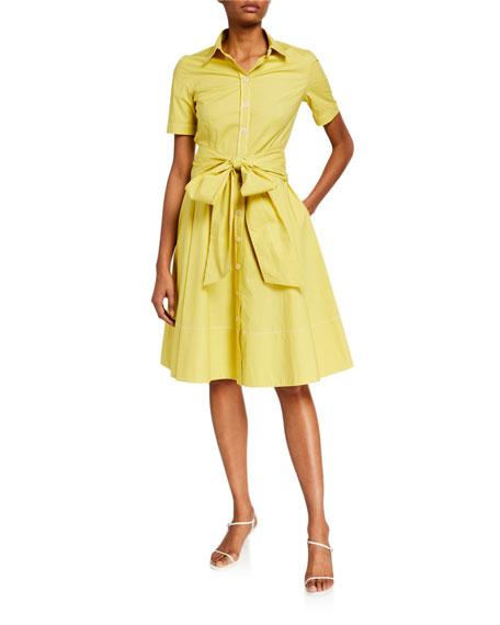 Piazza Sempione Cotton Bow-Waist Shirtdress, Yellow