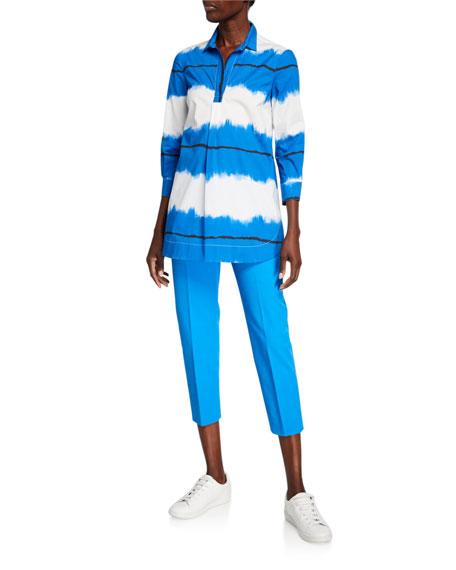Piazza Sempione Audrey Stretch Cotton Crop Pants, Blue