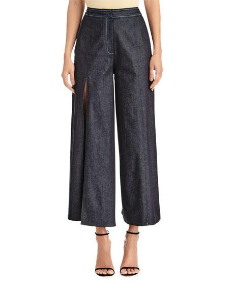 Carolina Herrera Wide-Leg Denim Pants w/ Front Slits & Sash