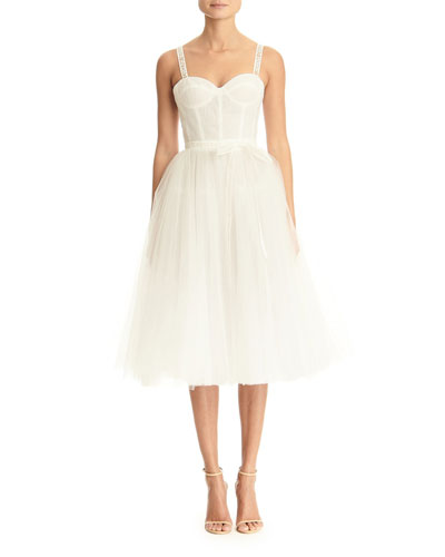 Logo-Strapped Tulle Dress