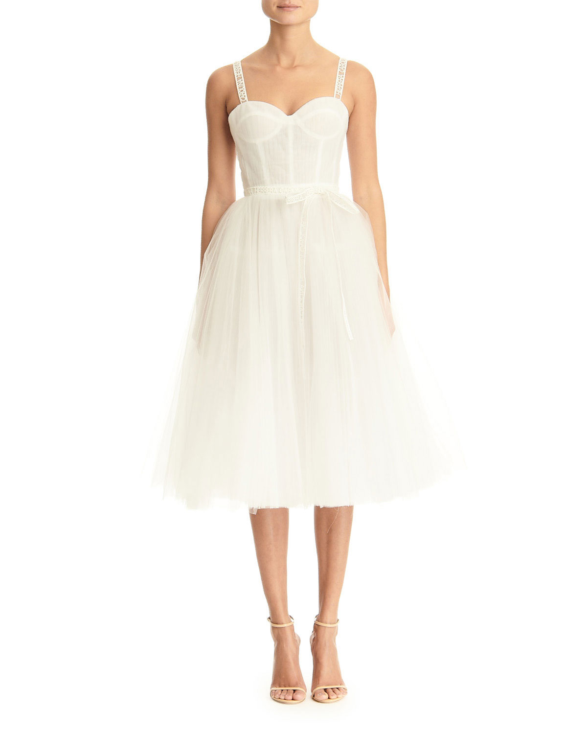 logo-strapped-tulle-dress by carolina-herrera