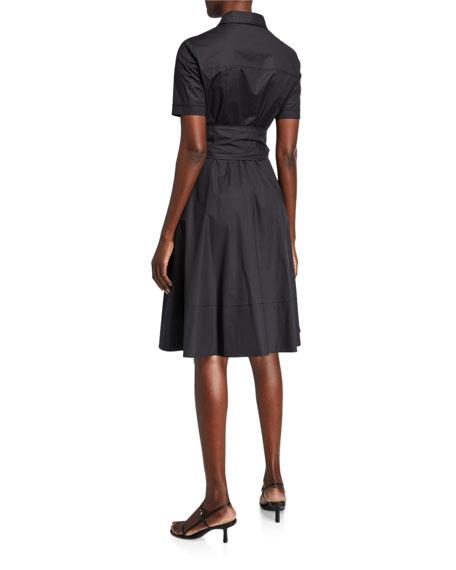 Piazza Sempione Cotton Bow-Waist Shirtdress  Black
