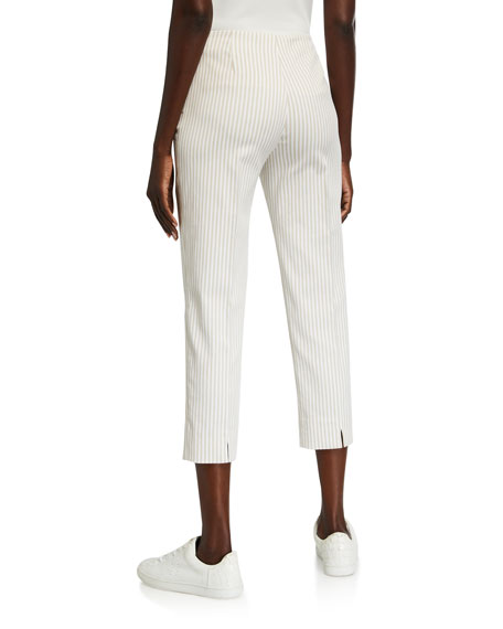 Piazza Sempione Audrey Pinstriped Cotton-Linen Pants