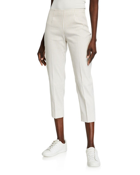 Image 1 of 3: Piazza Sempione Audrey Pinstriped Cotton-Linen Pants