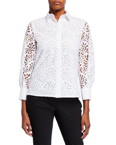 Carolina Herrera Eyelet Poplin Shirt