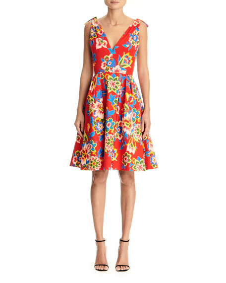 Carolina Herrera Dresses FLORAL-PRINT POPLIN V-NECK DRESS