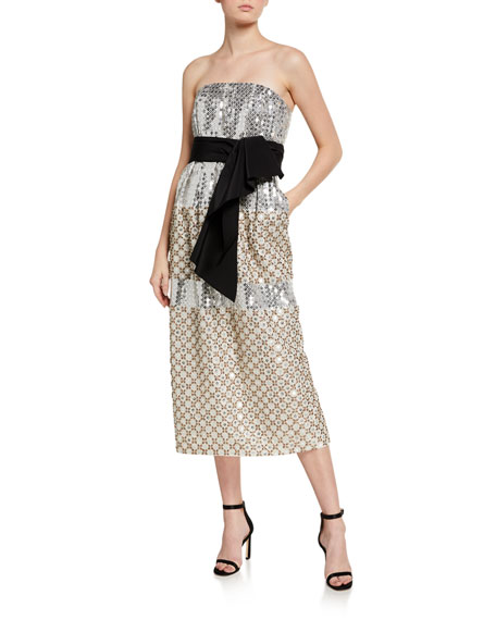 Carolina Herrera Embroidered Silk Strapless Dress
