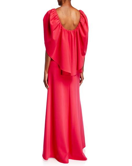 Carolina Herrera Cape V-Neck Column Gown