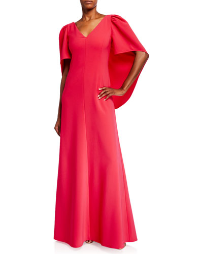 Cape V-Neck Column Gown