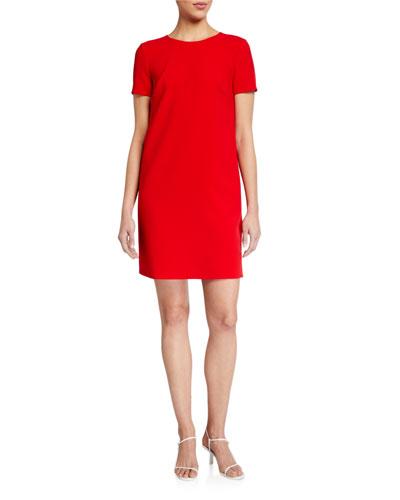 Short-Sleeve Crewneck Shift Dress
