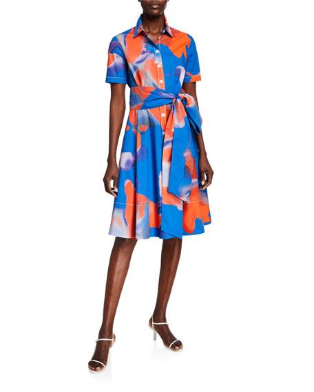 Piazza Sempione Blur Floral-Print Cotton Bow-Waist Shirtdress