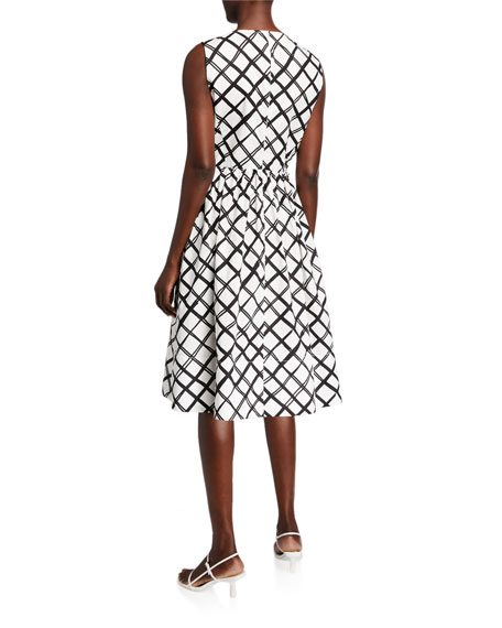 Piazza Sempione Diamond-Print Poplin Midi Dress
