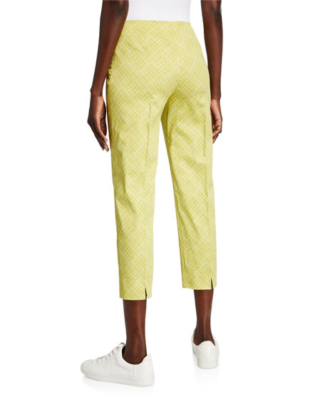 Piazza Sempione Audrey Windowpane Stretch Cotton Crop Pants, Chartreuse