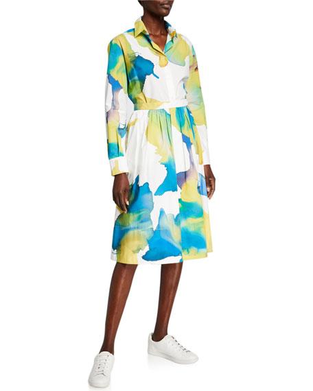 Piazza Sempione Macro Blur Floral-Print Full Skirt