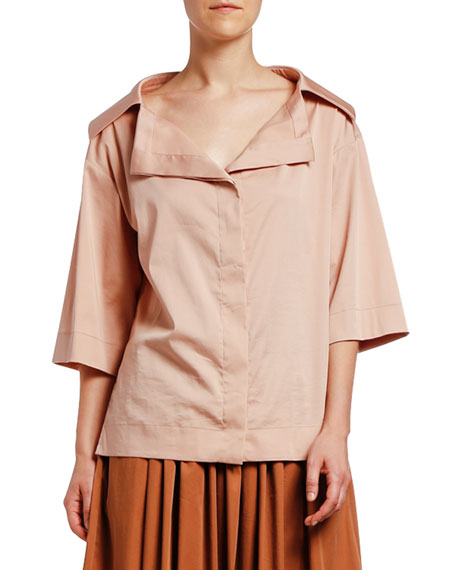 Image 1 of 2: Antonio Marras 3/4-Sleeve Portrait Collar Sateen Shirt