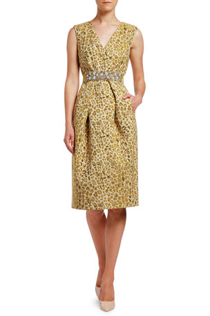 Antonio Marras Animal Damask Jewel-Waist Dress