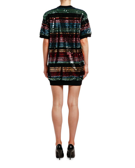 Antonio Marras Sequin-Striped Short-Sleeve Tunic