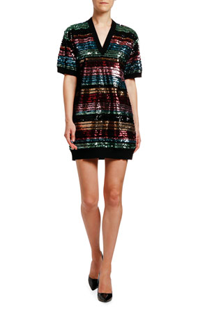Antonio Marras Sequin-Striped Short-Sleeve Tunic