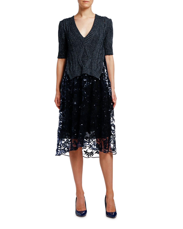 Antonio Marras Metallic Ribbed Dress