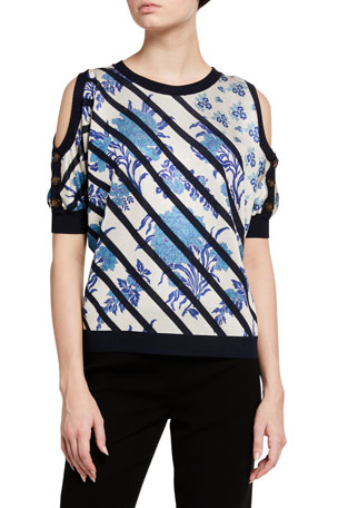 Antonio Marras Diagonal-Striped Cold-Shoulder Sweater