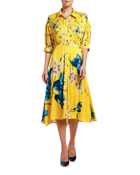 Antonio Marras Placed Floral Jersey Puff-Sleeve Shirtdress