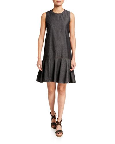 Denim Dropped-Flounce Dress