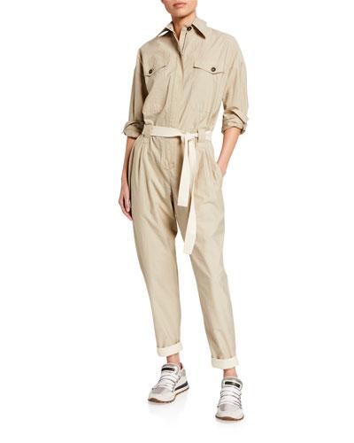 Crinkled Cotton Safari Jumpsuit