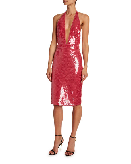 TOM FORD Deep-V Halter Dress