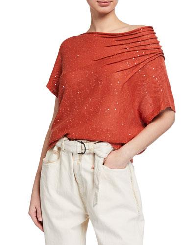 Sequined Linen Off-the-Shoulder Blouse