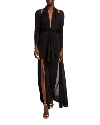 Cold-Shoulder Long-Sleeve Tie-Waist Halter Gown w/ Cape Back
