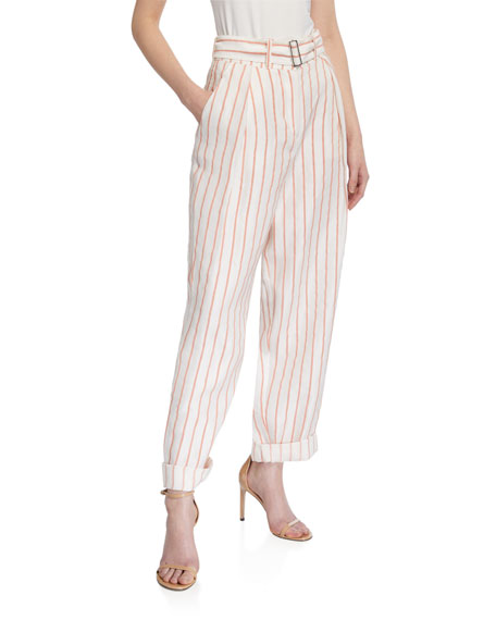 Emporio Armani Striped Wide-Leg Belted Linen-Blend Pants