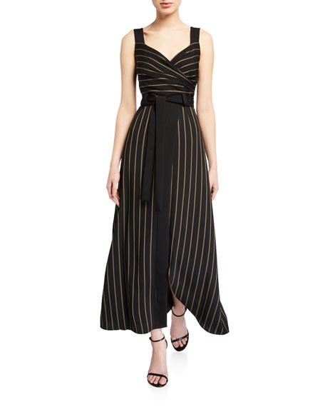 Emporio Armani Striped Cady Faux-Wrap Sleeveless Maxi Dress