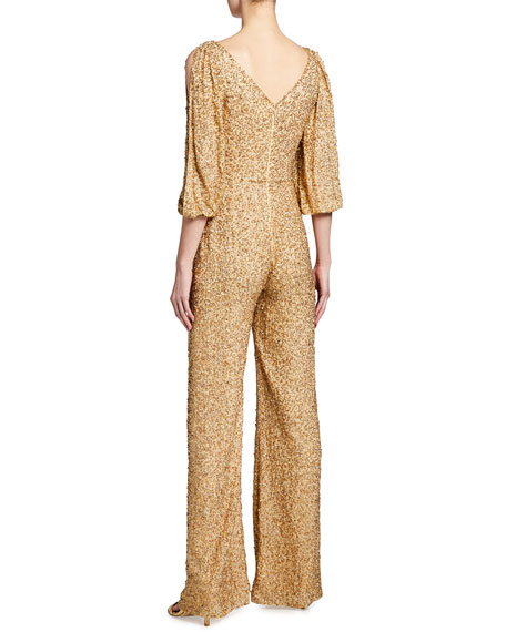 Image 2 of 2: Jenny Packham Teodora Sequin Cold-Shoulder Jumpsuit