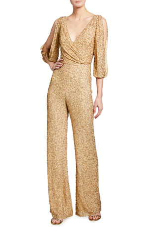Jenny Packham Teodora Sequin Cold-Shoulder Jumpsuit