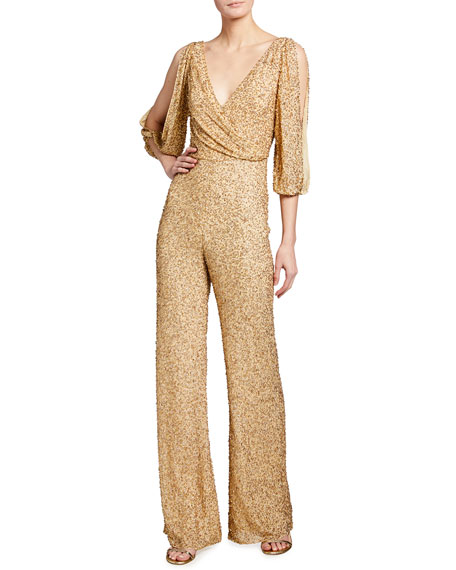 Image 1 of 2: Jenny Packham Teodora Sequin Cold-Shoulder Jumpsuit