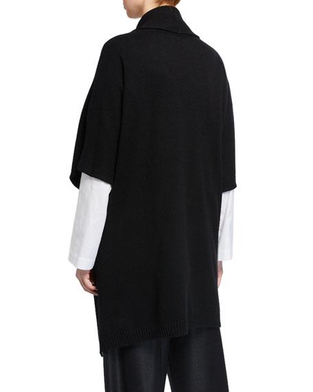 Eskandar Cashmere Wide High-Low Tabard Cardigan