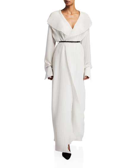 THE ROW Hania Ruffled Georgette Belted Dress