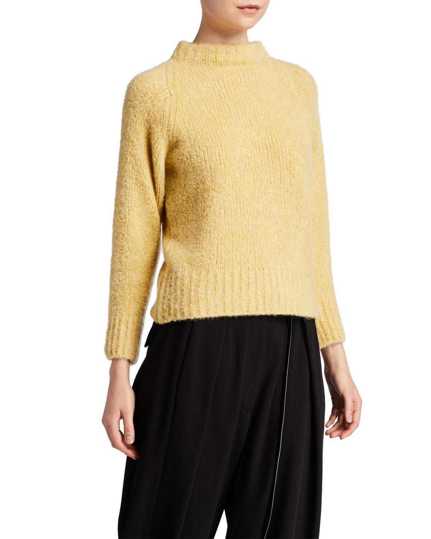 Cera Fuzzy Cashmere Silk Mock Neck Crop Sweater