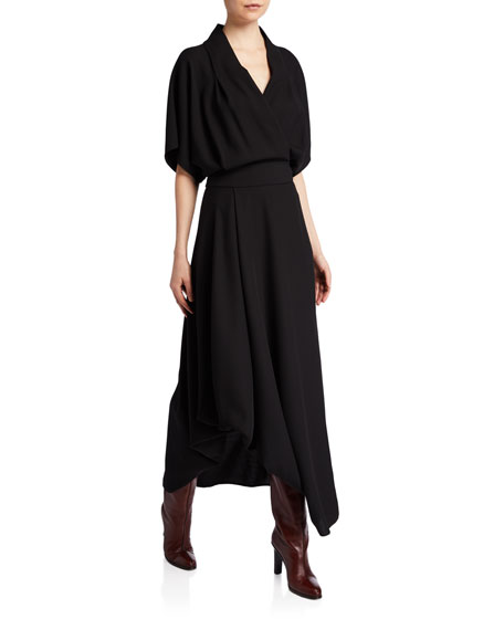 THE ROW Talisa Wool Dolman-Sleeve Midi Dress