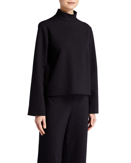 THE ROW Munie Mock-Neck Compact-Jersey Top