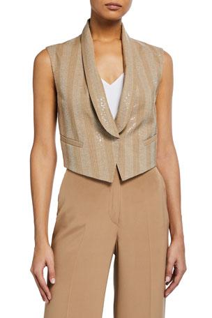Brunello Cucinelli Beaded Wool Crop Vest