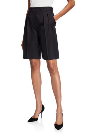 Maxmara Cotton Twill Pleated Safari Shorts