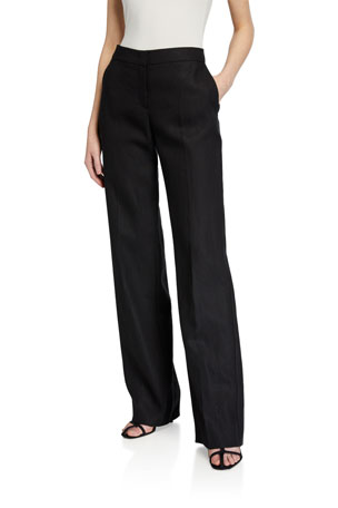 Maxmara Silk Linen Straight-Leg Trousers