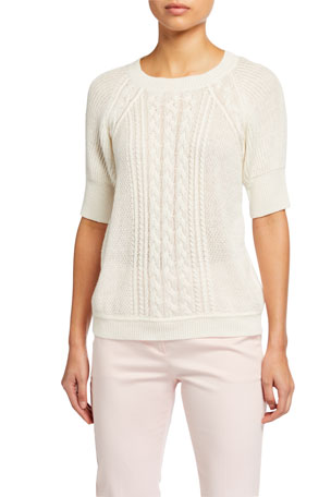 Maxmara Austero Cable Knit Linen Top