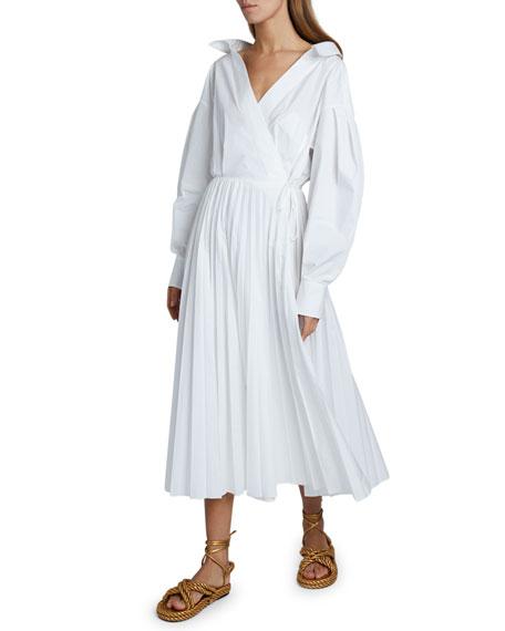 Valentino Puff-Sleeve Wrap Dress