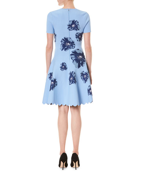 Image 2 of 3: Carolina Herrera Floral Short-Sleeve Fit And Flare Dress