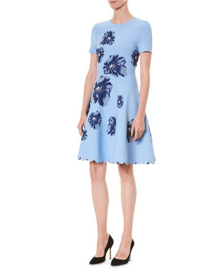 Image 3 of 3: Carolina Herrera Floral Short-Sleeve Fit And Flare Dress